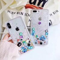 mover caso venda por atacado-Sparkle Moving App icon Liquid Case para iPhone xr xs max i10 6 7 8 mais 6s moda tampa traseira