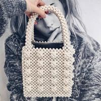 ingrosso scatole in rilievo-Moda vintage femminile borsa Top-handle piccola borsa da sera con patta fatta a mano a mano perla borse di lusso chic ins scatola in rilievo borsa marca Y1892608