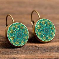 gancho para la oreja francés al por mayor-Fashion Time Gem Pendientes, Mandala Creative Ear Hook Jewelry, Retro- French Earrings Pendant Glass Dome Earrings