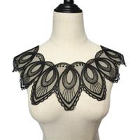 vestidos de noite preto pavão venda por atacado-Black Lace Trims malha costurar em Patches Flor do pavão apliques de casamento padrão para a noiva Vestido DIY