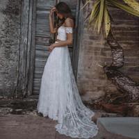 Wholesale white multicolor wedding dresses resale online - Elegant Lace Wedding Dresses Two Pieces Country Bridal Gowns Off the Shoulder Appliques Lace Wedding Gowns Long robe de mariee