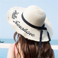 Wholesale beautiful girl hats resale online - Hot Sale Fashion Hepburn Wind Bowknot Summer embroidery girls Sun Hat Beautiful Women Raffia Straw Beach Hat Large Brimmed