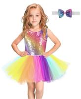 kinder bunte party kleider großhandel-Regenbogen Pailletten Tutu Kleid für Kinder Mode Backless Sleeveless Tüll Kleid Mädchen Kleidung Bunte Kinder Mädchen Party Kleid