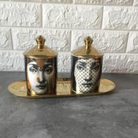 elfenbein antiquitäten großhandel-Fornasetti kerzenhalter diy handgemachte kerzen glas retro lina gesicht lagerbehälter keramikschaft dekoration jewerlly aufbewahrungsbox d19011702