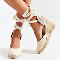 ingrosso pompe per tela per donne-Sandali con cinturini alla caviglia da donna Espadrille Pantofole comodi Pantofole da donna in lino traspirante