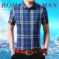 camisas de manga curta xadrez 4xl venda por atacado-Burburry Plaid Impressão Camisas Dos Homens de Verão Designer de Manga Curta Turn Down Collar Mens Camisas Casuais de Luxo