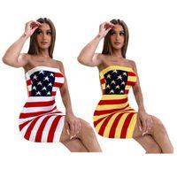 bayrak seksi elbiseleri toptan satış-ABD Bayrağı Baskılı Giyim 2019 Kadınlar Tasarımcı Yaz Elbise Kolsuz Kapalı Omuz Bodycon Elbise Seksi Rahat Kulübü Sreet Etekler S-XXXL C71202
