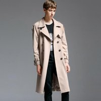 Wholesale double standard clothing mens online – design 2019 new designer loose double breasted trench coats mens long coat men clothes slim fit overcoat man long sleeve england