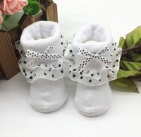 calcetines de encaje de color rosa al por mayor-Calcetines tobilleros de algodón peinado para niños pequeños de color rosa rojo blanco para bebés Bowknots Calcetines sólidos con encaje 6.24