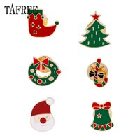 Wholesale round silver bells for sale - Group buy Christmas gift Lapel Pins Colorful Enamel Alloy Christmas stocking Tree Small bell Santa Claus Brooches For Xmas Badge