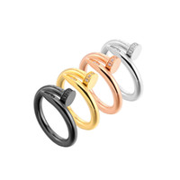 siyah gümüş çivi toptan satış-Titanyum Çelik Tırnak Yüzük Kristal Siyah Gümüş Gül Altın Bant Yüzükler Çift Düğün Parmak Yüzük Moda Marka Takı