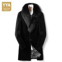 große kragen schwarze mantel herren großhandel-Luxus Lange Mens Echten Pelzmantel Große Größe Winter Warme Dicke Fox Pelzkragen Natürliche Lammfell Jacke Schwarz Büro Mann Wollmantel 4XL