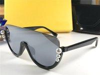 neue stil gläser für frauen großhandel-New Fashion Designer Frauen 0296 Sonnenbrille quadratischen Halbrahmen mit Luxus-Perlen Avantgarde populären Stil UV 400 Schutzbrille