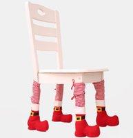ingrosso copri spandex per tavoli-Sedia di Natale del piede dei calzini gambe del tavolo di copertura Stocking di Santa Boots decorazioni Hotel Restaurant Bar Stool Tabella coprisedie GGA2826 caldo