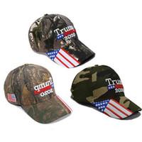 Wholesale usa winter cap resale online - Donald Trump Cap USA Stars Flag Camouflage Baseball Cap Keep America Great Hat Embroidery Letter Adjustable Camo Glof Hat HHA363