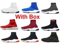 Wholesale men s fashion low shoes resale online - 2019 Sock Shoes designer fashion luxury women shoes Paris Triple S Brand Designer Sock Shoes Men With Box Runner sneakers