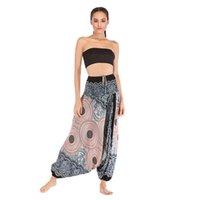 ioga mulheres indianas venda por atacado-Academia de moda das mulheres impresso calças de yoga tailandesa indiana casual yoga calças yoga suit boêmio aladdin virilha