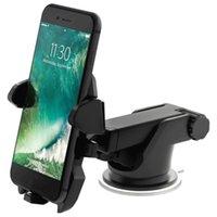 langarm-auto telefonhalter großhandel-360 Rotation Car Mount Handyhalter Waschbar Stilvolle Easy One Touch 2 Lang Arm Windschutzscheibe Armaturenbrett Halterung für iPhone Samsung