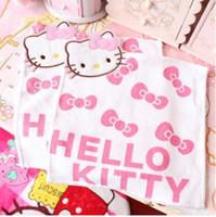 taschentuch kinder frauen groihandel-Hallo Kitty-Qualitäts-Handtuch Baumwollstickerei Gesicht Handtuch Plain weiche Baby-Wipes Toalla De Cara