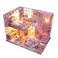 ingrosso stanza di legno in miniatura di bambola della bambola-Fai da te casa delle bambole carino Assemblare in legno Miniaturas casa delle bambole in miniatura casa delle bambole giocattoli educativi per i bambini