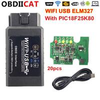 usb obd2 chip al por mayor-La interfaz de escáner USB 20pcs WIFI ELM327 Con PIC18F25K80 viruta OBD2 herramienta de diagnóstico profesional ELM 327 WiFi OBD II Soporte IOS