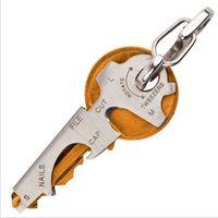 edelstahlschlüssel großhandel-Werkzeug Edelstahl Hang Schnalle Multi Funktion Schwarz Silbrig Schlüsselanhänger Tragen Erwachsene Schlüssel Halter Heißer Verkauf 2zcD1