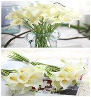 ingrosso decorazioni di giglio-33 cm di lunghezza Calla Lily Fiori artificiali Bouquet da sposa Real Touch Pu Calla Lily Rami finti Decorazione della casa 01