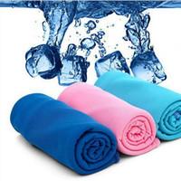 lenço frio venda por atacado-Crianças Ice Magic toalha 90 * 30 CM multifuncionais refrigeração verão frio Esportes refrescar toalhas Scarf cinto Gelo Adulto Bath Supplies TA-TA1031