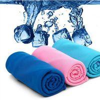 soğuk eşarp toptan satış-Çocuklar Sihirli Buz Havlu 90 * 30 CM Fonksiyonlu Soğutma Yaz Soğuk Spor Havlular Eşarp Buz kemer Yetişkin Banyo TA-TA1031 Malzemeleri Soğuk