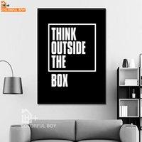 marco de fotos digital cuadrado al por mayor-COLORFULBOY Tipografía Think Quotes Canvas Painting Black White Wall Art Print Modern Poster Wall Pictures For Living Room Decor