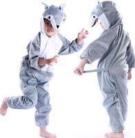 disfraz de gato zentai al por mayor-Nuevo estilo el 2018 niños cosplay Grey Wolf Lion cat Adecuado para niños y niñas Traje de escenario estilo corto baile vestir