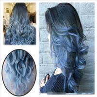 cierre de encaje sintético rizado al por mayor-26 pulgadas moda Ombre pelucas azules largas naturales onda del cuerpo a prueba de calor peluca de reemplazo del pelo sintético para las mujeres de moda sexy paty pelucas