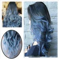 women blue hair 도매-26 인치 패션 Ombre 블루 가발 긴 자연 바디 웨이브 내열성 합성 헤어 교체 가발 패션 여성용 섹시한 Patty Wigs