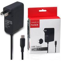 wandschalter usb großhandel-Für Schalter EU US-Stecker Hauptreise Wand USB Typ C AC Adapter Ladestromversorgung für Schalter NS Ladegerät im Kleinpaketkasten
