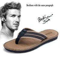 тапочки оптовых-Summer Couple Flip-flops Men And Women Beckham With The Same Paragraph Beach Slippers Men's Sandals Clip Toe Drag Men's Shoes