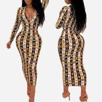 neue art sommerkleider groihandel-Kleid-Designer der neuen Ankunfts-Frauen 19SS für Sommer-Luxusschlangenhaut-Druck-langärmliges Kleid-V-Ansatz, figurbetontes Kleid-reizvolle Verein-Art Heißer Verkauf