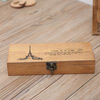 holzstift bleistift box großhandel-Retro Turm Aufbewahrungsbox Holz Holz Stift Federmäppchen Halter Münze Schreibwaren Aufbewahrungsbox Hot Worldwide Wooden Organization