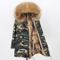 Wholesale coats low prices for sale - Group buy Low price Maomaokong brand brown raccoon fur trim Cold resistant women coats brown wild rabbit fur lining Camouflage shell long parkas