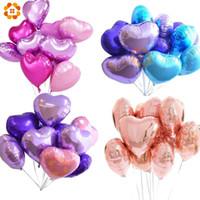 coração em forma de balões de folha venda por atacado-18 polegadas 10 pcs Festa de Chuveiro de Bebê Balão Foil Pinkblue Em Forma de Coração De Hélio Ar Bola Decoração de Festa de Aniversário de Casamento Balões SH190723