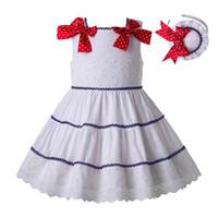 elbise partisi beyaz noktalar toptan satış-Pettigirl Yaz Beyaz Kız Elbise Kolsuz Prenses Elbiseler Ile Nokta Yaylar Ve Şapkalar Için Parti Tasarımcısı Çocuklar Kız Kostümleri G-DMGD203-64