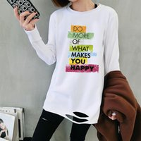 Wholesale lantern figure for sale - Group buy The Official Figure Double Grinding Autumn Long Sleeve T Pity Woman Short Holes Printing Long Fund Jacket Tide