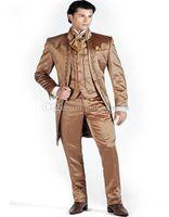 homens terno marrom brilhante venda por atacado-Chegada nova Padrinhos Bordados Mandarim Lapela Do Noivo Smoking Brilhante Marrom Homens Ternos de Casamento / Prom Melhor Homem Blazer (Jacket + Pants + colete + Gravata) O14