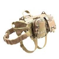 Wholesale black combat suits resale online - Tactical Dog Vest Suit Outdoor Equipment Large Dog Combat Clothing Military Harness With Detachable Molle Pouches Training Vest Set M88F