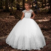 Wholesale girls 18m christmas dress for sale - Lovey Lace Princess Flower Girl Dresses Ball Gown First Communion Dresses For Girls Sleeveless Tulle Toddler Pageant Dresses BC1831