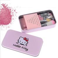componer establece precio al por mayor-El mejor precio 7Pcs set Hello kitty Make Up Cosmetic Brush Kit Makeup Brushes Pink black beauty appliances pincel de maquillaje en existencia DHL FREE