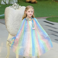 Wholesale costume cloaks capes resale online - 6 Color Baby Robe Cloak Sequin Cape Kids Cosplay Costume Children Cartoon Capes Princess Veil Birthday Party Halloween Poncho AA19175