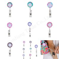 Wholesale retractable card clip resale online - Lilly Floral Retractable Pull Badge Reel Lanyard Name Tag ID Card Holder Reels Recoil Belt Clip key Chain ring Clips Keychains E11308