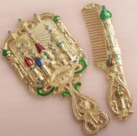 антикварные декоративные зеркала оптовых-Europen антикварная металлическая рама ручные зеркала маленькое зеркало карманные зеркала декоративные подарки для женщин J049