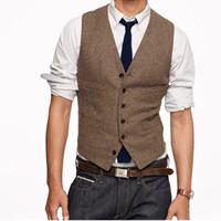 hombres trajes de lana personalizados al por mayor-Nuevos chalecos de tweed marrones vintage Lana de espiga Estilo británico a medida Traje de hombre a medida Slim fit Blazer trajes de boda para hombres