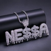 Wholesale sliding bails jewelry for sale - Group buy Custom Name Jewelry Crown Bail Drip Initials Bubble Letters Chain Necklaces Pendant Micro Paved Zircon Necklace Halloween Gift